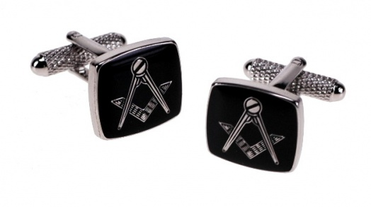 Masonic Black Square & Compass Cufflinks